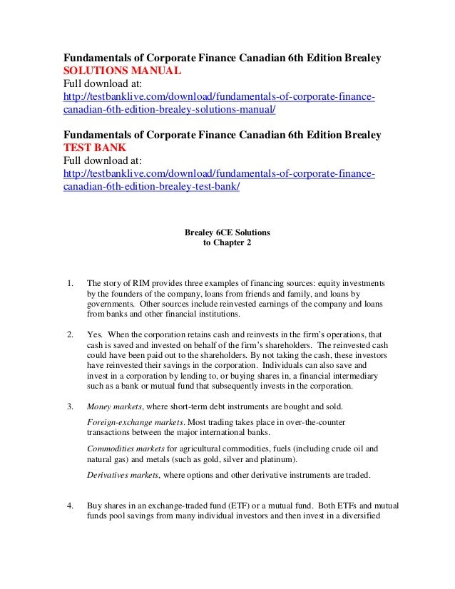 fundamentals of corporate finance 5th canadian edition solution manual