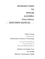 introduction to linear algebra strang solution manual