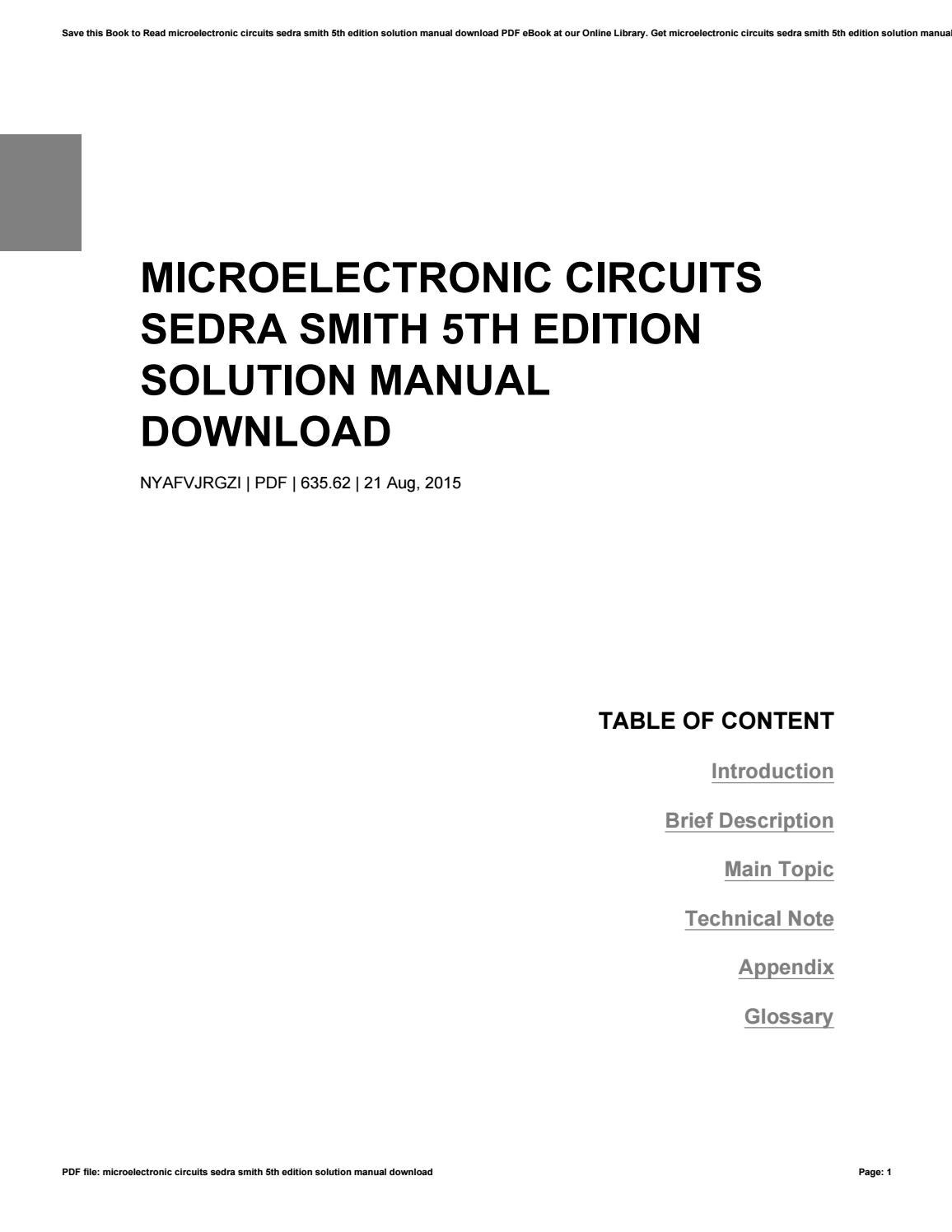 sedra smith microelectronic circuits 7th edition solution manual